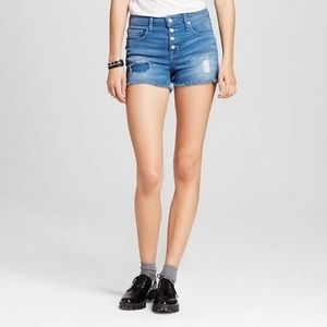 High Rise Button Fly Distressed Patchwork Shorts